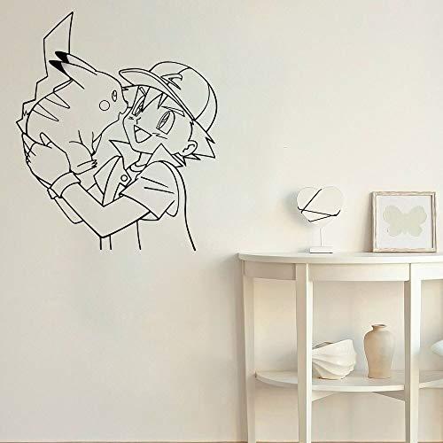 Pikachu Haustier Wandaufkleber Babyzimmer grau Ketchup Wandtattoo Wohnzimmer Hauptdekoration Cartoon Wanddekoration Anime Junge Mädchen Kinderzimmer 42x35cm