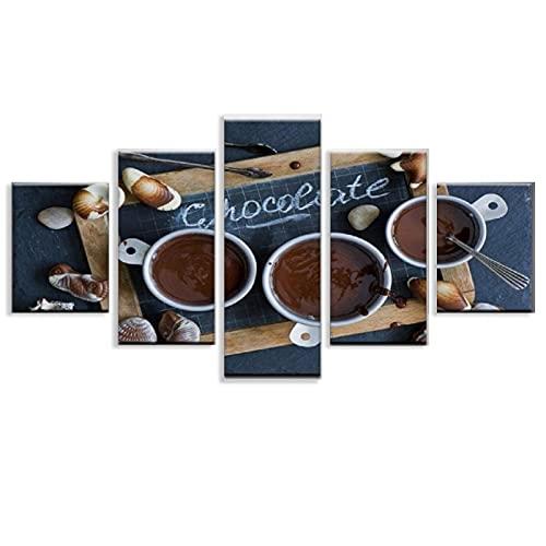 5 piezas lienzo HD impresiones póster decoración de sala de estar 5 piezas chocolate café postre pizarra pinturas modulares Unframe-style1