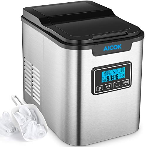 Aicok 26lb Portable Ice Maker Machine for Countertop, Stainless Steel, Ice Cubes ready in 6 Minutes,...