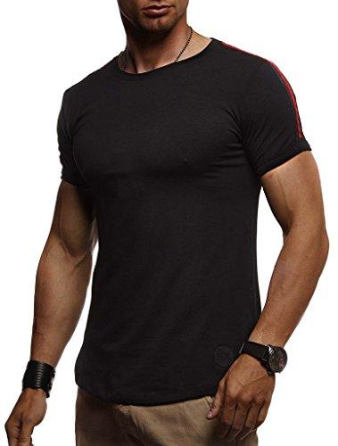 Leif Nelson Herren Sommer T-Shirt Rundhals-Ausschnitt Slim Fit Baumwolle-Anteil Moderner Männer T-Shirt Crew Neck Hoodie-Sweatshirt Kurzarm lang LN1385 Schwarz Large