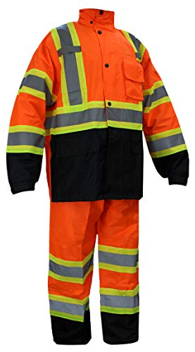 RK Safety RW-CLA3-TOR77 Class 3 Rain suit, Jacket, Pants High Visibility Reflective Black Bottom with X pattern (Extra Large, Orange)
