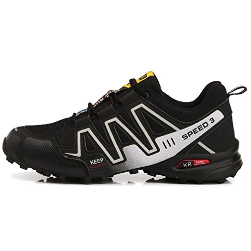 MERRYHE Hommes Grande Taille Réfléchissante Nuit Chaussures De Course Randonnée Trekking Chaussures en Plein Air Escalade Chaussure De Marche Sneaker,Black-44