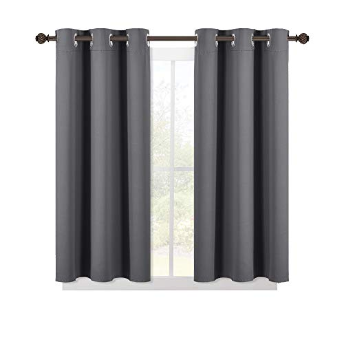 NICETOWN Grey Blackout Curtain Panels for Bedroom, Thermal Insulated Grommet Top Blackout Draperies and Drapes (2 Panels, W42 x L45 -Inch, Grey)