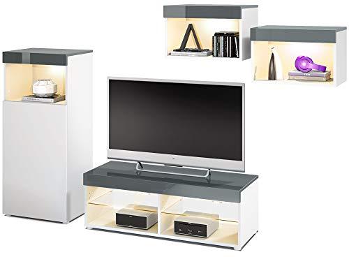 Vladon Wohnwand Pure, modernes Wohnzimmer Möbel Set, Korpus in Weiß matt/Oberböden und Blenden in Grau Hochglanz, mit RGB LED Beleuchtung | Große Farbauswahl