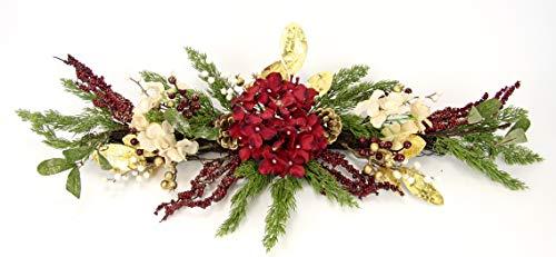 Arrangement mit künstlichen Hortensien mit Zapfen Tanne Beeren Blätter Gold-Glitter Reisig Tischdeko Deko Weihnachten Blumenarrangement Gesteck Girlande Blumenschmuck Kunstblumen Weihnachtsdeko Leger