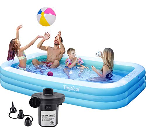 "Toysical Inflatable Pool with Air Pump - 118 x 72 x 22"" Above Ground Pool, Swimming Pools for Kids and Adults and The Entire Family - More Durable Than Other Blow Up Pools - Includes Patches"