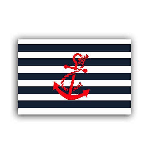 "Vandarllin Red Nautical Anchor Entry Way Outdoor Door Mats Welcome Rugs with Navy Blue and White Stripe Pattern Print for Home,23.6""x15.7"""