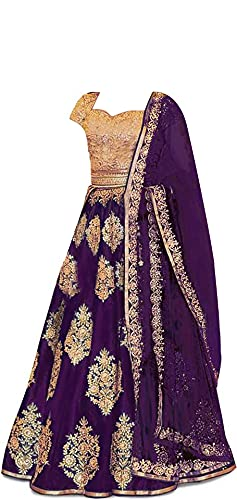 New Fashion Adda Girl's Taffeta Satin Semi Stitched Lehenga Choli With Unstitched Blouse And Readymade Dupatta (_Purple_9-13 YEAR)