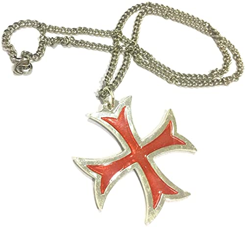 Pendant Masonic Knights Templar Crusader Red Cross Stainless Steel Pendant Necklace with Free 24' Chain
