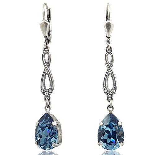 Jugendstil Ohrringe mit Kristallen von Swarovski Silber Blau NOBEL SCHMUCK