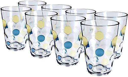 Paquete de 8 vasos de agua de plástico acrílico transparentetaza para beber de350ml tazas de baño aptas para lavavajillas tazas portátiles para acampar