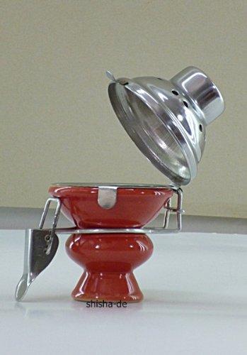 Tonkopf für Shisha´s mit Windschutz - Ø 6,5 cm - in ROT
