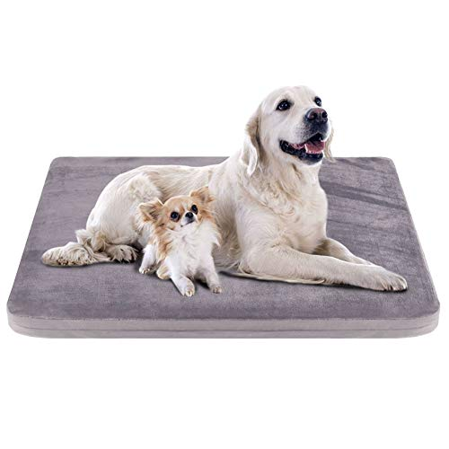 """JoicyCo Dog Bed Crate Mat Pad Orthopedic Foam Pet Beds Dog Mats for Sleeping Washable Anti-Slip Mattress with Removable Cover 47"""""""