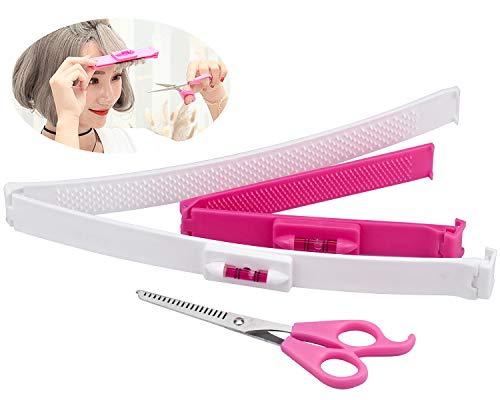 cococity Haarschere Set 2 Stück Haarschneide Hilfe Clip + 1 Friseurschere Scherer-Trimmer Verdünnung Hairstyling Salon Schneidwerkzeuge Kit DIY Hair Styling Ruler (Weiß/Rosa)