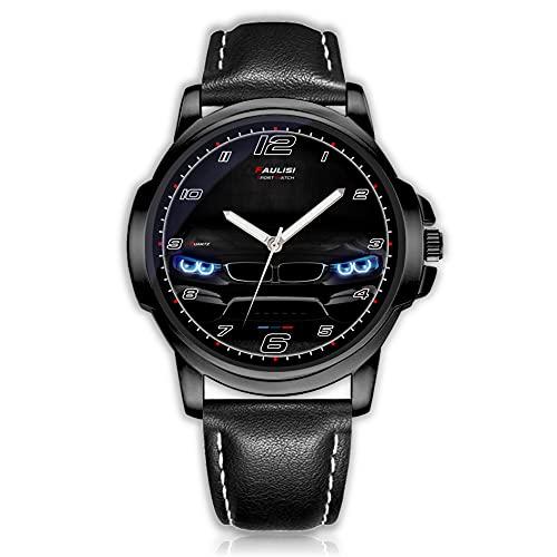 Faulisi Sport Watch Orologio da polso Sportivo al quarzo da Uomo Analogico con Batteria con cinturino in Ecopelle cassa in Acciaio per i Fan di BMW con Fari dell'auto Angel Eyes BMW Accessori BMW
