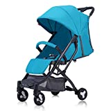 MU Sillas de paseo cómodas Cochecito de bebé, Carry on Flight Cochecito de bebé convertible Sistema de viaje compacto para cochecito de bebé, Ligero,Azul
