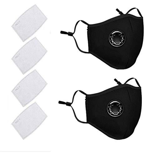 AmyGline Outdoor Baumwolle-Maske-Mundschutz,mit Aktivkohlefilter,Wiederverwendbar,Waschbar,Anti-Staub,Atmungsaktiv,Grau Schwarz,für Radfahren (2, Schwarz)