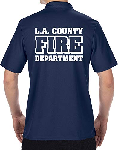 Polo fonctionnel Navy, L.A. County Fire Department blanc M bleu marine