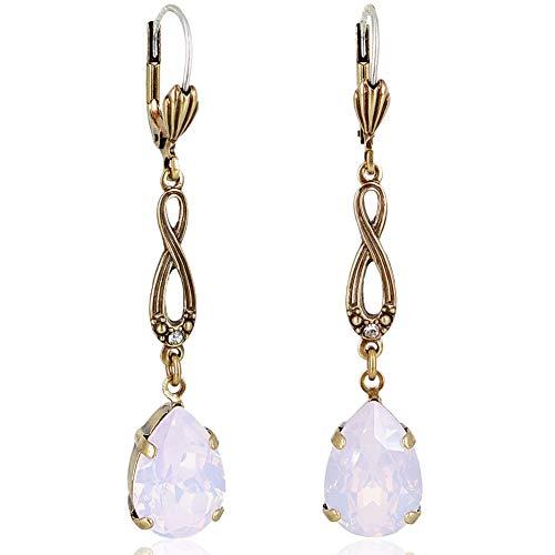 Jugendstil Ohrringe mit Kristallen von Swarovski® Gold Rosa NOBEL SCHMUCK