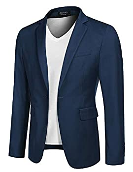 COOFANDY Mens Fitted Blazer Casual Navy Sports Jacket Lightweight One Button Sport Coat  Blue XL