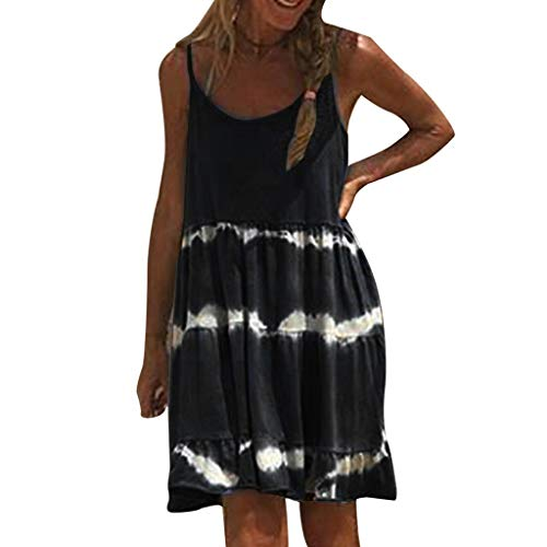 LeeMon Kleid Damen Ärmellos Sling Kleid? LeeMon Frauen Casual Camisole O Neck Chiffon Kleider Täglich Boho Sexy Minikleider