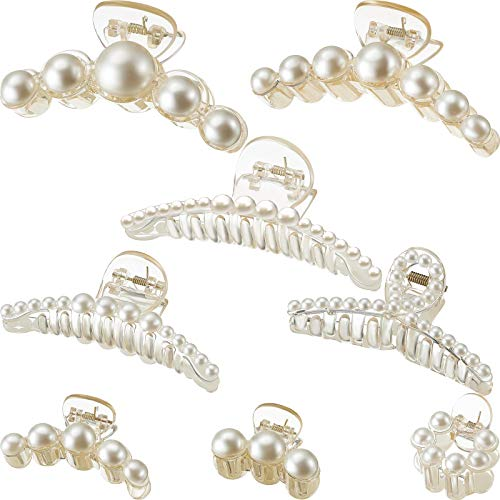 8 Pieces Artificial Pearl Hair Claw Clips Plastic Hair Catch Hair Claws Non Slip Hair Bun Jaw Clips Fake Pearl Hair Clip Clamp Assorted Sizes and Styles for Women Girls Hair Accessories