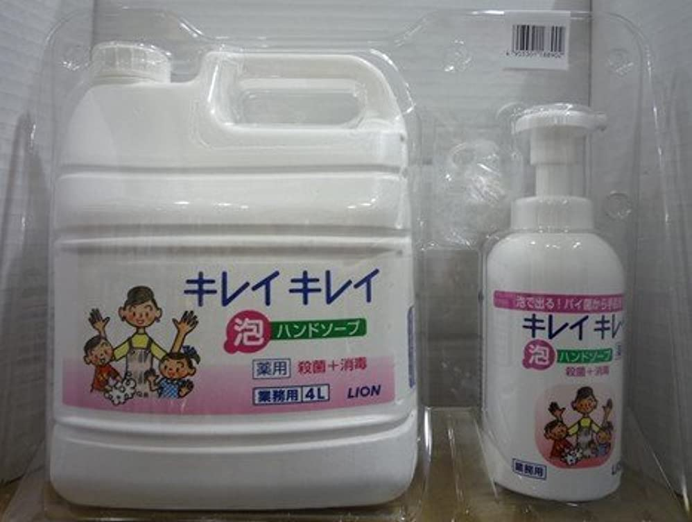 流暢破滅的なスタジアムキレイキレイ 薬用泡ハンドソープ 業務用 4L+キレイキレイ 薬用泡ハンドソープボトル550ml