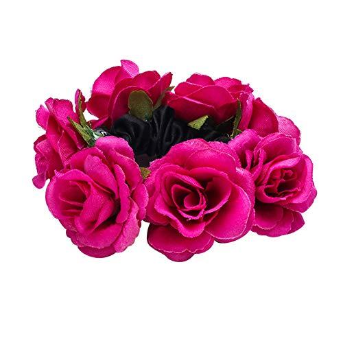 Momangel Damen Haarband, elastisch, Rose, Blumendesign, Pferdeschwanz-Halter, Party-Dekoration, Stoff, rosarot, Einheitsgröße