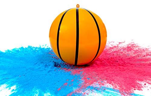 Gender Reveal Sports Co. Juego de Pelotas de Baloncesto con Polvo para revelación de género | Incluye Paquetes de Color Rosa y Azul + Concha de Baloncesto