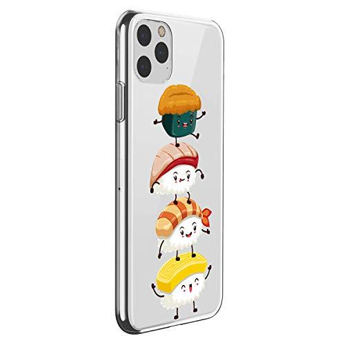 Suhctup Cover Compatibile con in Silicone per iPhone 11 PRO Max 6.5'',Custodia Stampa Sushi Disegni in TPU Morbido,Sottile e Cristallo Trasparente Custodie Protettivo Gel Cover -Sushi 3