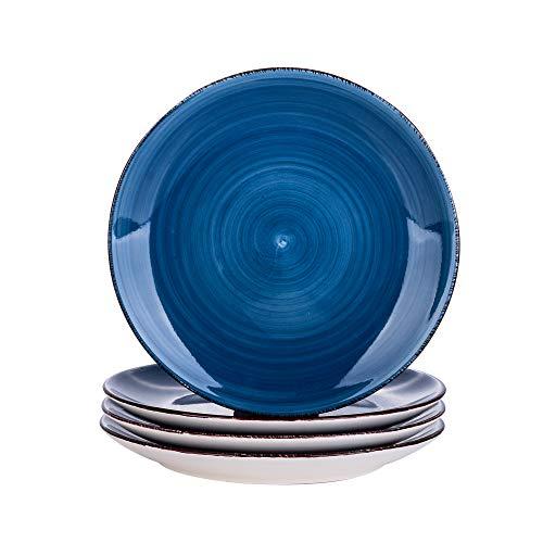 vancasso Serie Bella Platos de Postre 4 Piezas, Juego de Platos Platos Llanos Gres, Azul