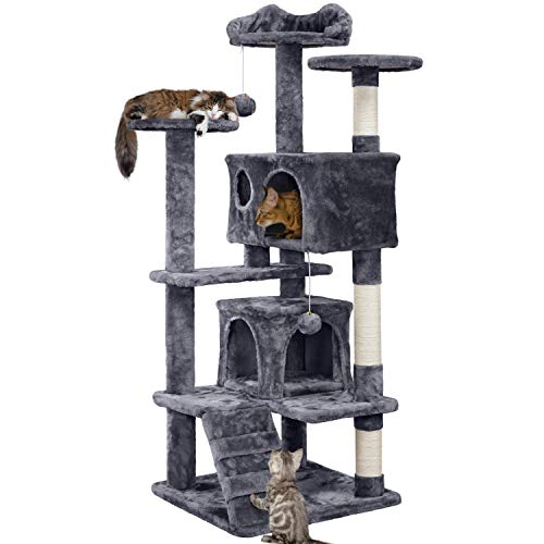 YAHEETECH 54.5in Arbre à chat Tour Condo Meubles Scratch Post pour chatons Pet House Play