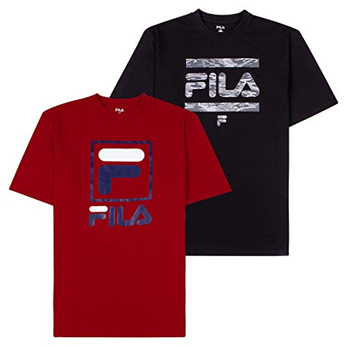 Fila T-Shirts for Men, Big and Tall Men Shirts, Oversize Tees, Shirt 2 Pack Black/Red