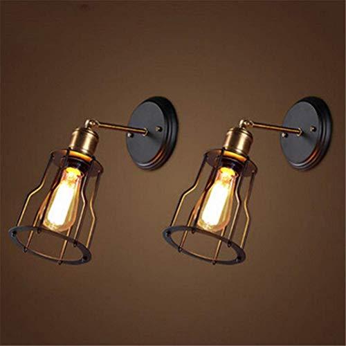 Lámparas de pared industriales, Pared luz negra antigua latón ajustable pequeño hierro jaula sola E27 zócalo lámpara de pared interior industrial retro decoración casero dormitorio cocina pasillo (paq