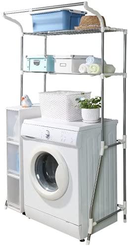 BAOYOUNI Scaffale di Stoccaggio Lavatrice a 2 Ripiani Mensola della Toilette Organizer Multi-Funzione da Bagno in Metallo Cremagliera Salvaspazio (62-101) x 48 x 173 cm, Bianco