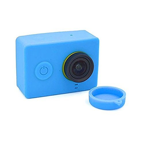 Fengh Portable Coque en silicone avec couvercle d'objectif pour xiao Mi YI Action Camera (Bleu)
