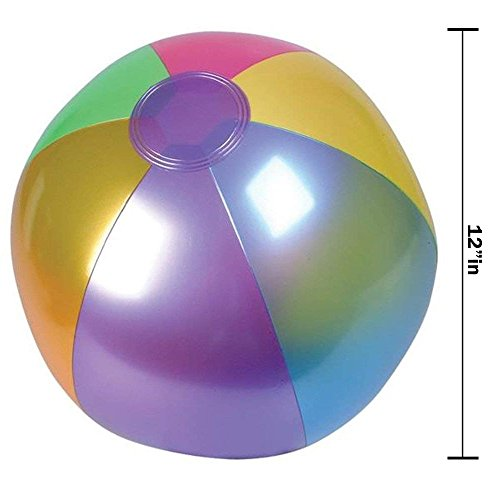 Kicko 18 Inch Metallic Beach Ball Inflatable - 12 pc Cool and Colorful Umbrella Streaked Pool Toys for Kids and Adults Summer Entertainment, Water Games and Outdoor Activities, Party Accessories