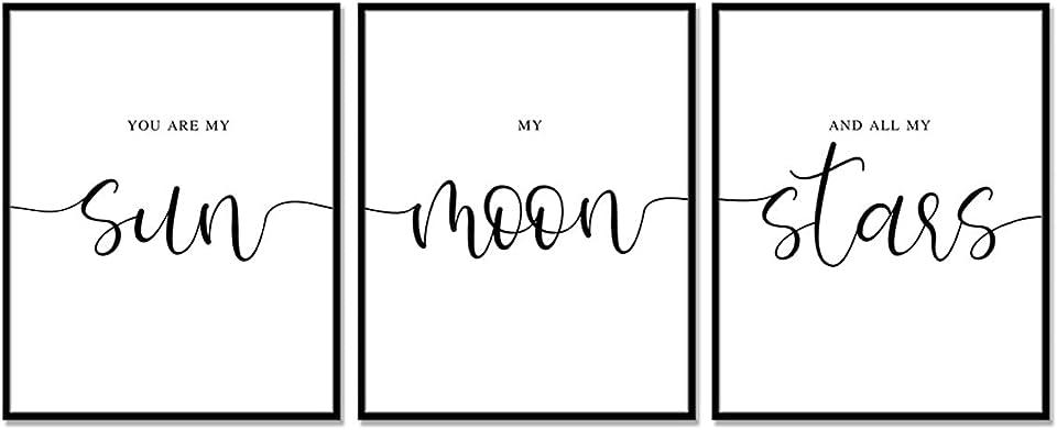 Set of 3 Prints, You Are My Sun My Moon And All of My Stars, Nursery Wall Art, Nursery Prints, Bedroom Print Set, Above Bed Print, Bedroom Quotes, Nursery Decor, UNFRAMED 11x14inch
