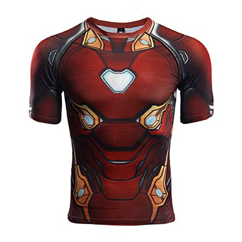 GYM GALA Iron Man Shirt Casual and Sports Short Sleeve Compression Shirt (Small, Short Sleeve red)