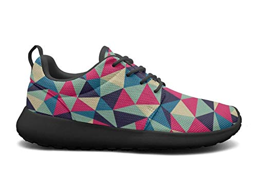 LOKIJM Kinds of Triangle Print Black Walking Shoes for Women athletic Wear-Resistant Best Running Shoes