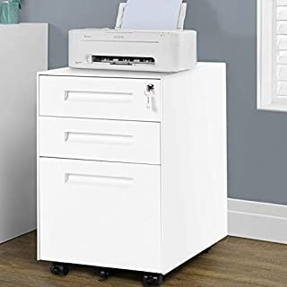 Armoire de bureau avec serrure 3 tiroirs et 5 roulettes - Meuble de bureau prémonté en acier noir (blanc)