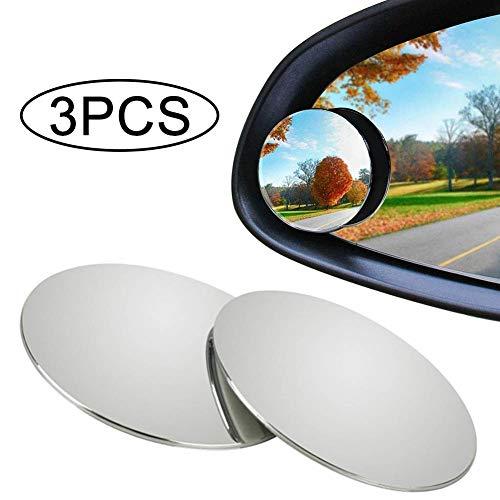 Auto toten Winkel Spiegel - WENTS 3PCS Blinder Fleck Spiegel Auto Rückspiegel Film wasserdicht konvexer Rückspiegel HD Glas rahmenlose runde Autoteile