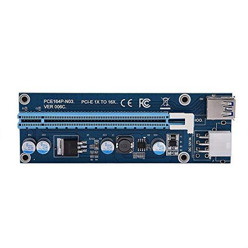 Mini PCI-E zu PCI Express, 16x Extender Riser Adapter 4 Halbleiterkondensatoren mit 6-poliger Schnittstelle mit SATA-Netzkabel für Grafikkarten-Mining Kompatibel mit allen Windows-Betriebssystemen