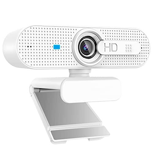 USB 1080P Computer Webcam mit Autofokus, Sichtschutz & Dual-Mikrofon für Skype, Video-Anrufe, Konferenzen, Aufnahme, Streaming, Weiß