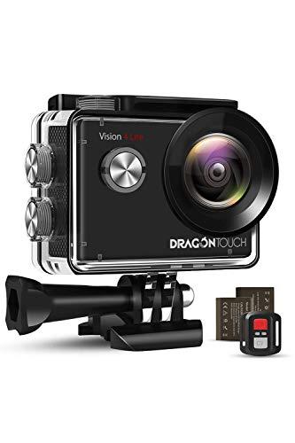 DragonTouch アクションカメラ 4K 20MP SONYセンサー ELS手ぶれ補正搭載 Wi-Fi搭載 リモコン 防水ケース 1050mAhバッテリー2個付属 30M防水 外部マイク対応 小型 ウェアラブルカメラ 対角170°広角レンズ ウェブカメラ スポーツカメラ 豊富な付属品 日本語説明書「Vision 4 Lite」1年保証