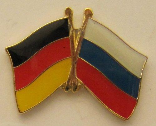 Buddel-Bini Versand Russland/Deutschland Fre&schafts Pin Anstecker Flagge Fahne Nationalflagge Doppelpin Flaggenpin Badge Button Flaggen Clip Anstecknadel