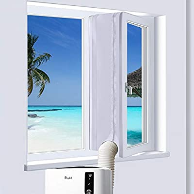 PiAEK 400cm window seal for portable mobile air conditioner, Silver Grey Hot Air Stop for All Mobile Air Conditioning kit and tumble dryer, Easy to Install