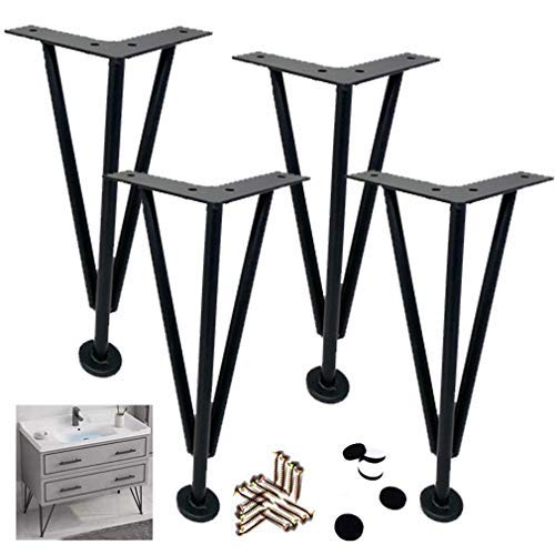 BJYG Set of 4 Hairpin Table Legs,3Rods Heavy Duty DIY Furniture Metal Table Legs,Iron Furniture Legs Support Feet,for Beds,Cabinets,Tables and Other Furniture Feet,with Screws (30cm/11.8')