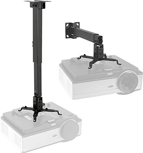 BuFan Supporto da soffitto/muro staffa videoproiettore per casa ufficio sale riunioni - inclinabile +-15° -portata max. 20 KG - Staffa Regolabile per Proiettore 44-67cm- nero.