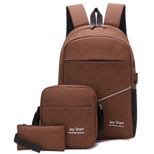 FAGavin Bolsa de ordenador marrón de tres piezas para estudiantes mochila de negocios ocio viajes al aire libre USB de carga/auriculares agujero de moda hombro portátil